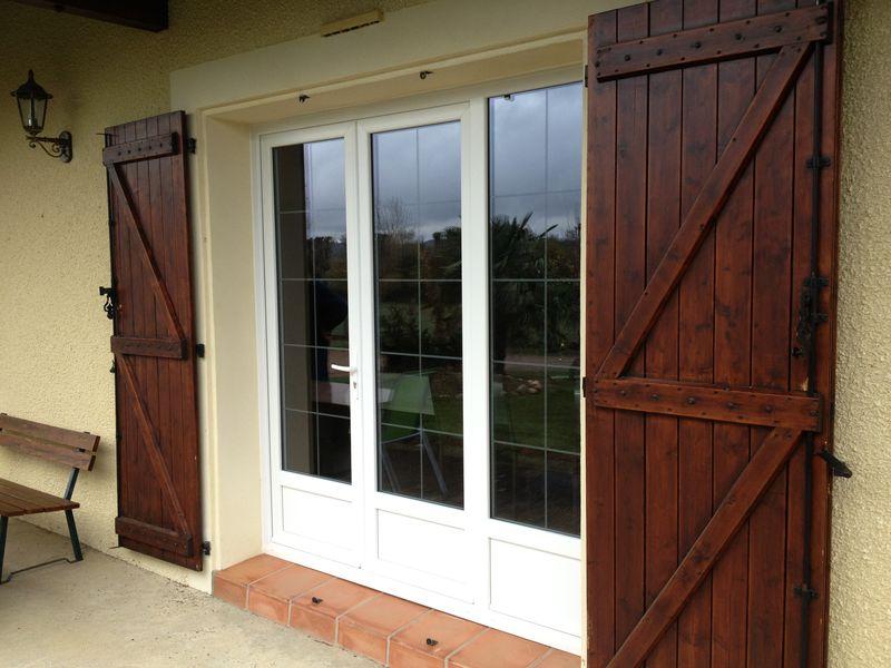 Porte fenêtre PVC glacillons biseautés